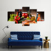 Composition with variety of organic food products on kitchen table Multi panel canvas wall art
