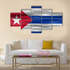 Realistic Flag Of Cuba Multi Panel Canvas Wall Art