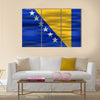 Realistic flag Bosnia and Herzegovina Multi panel canvas wall art