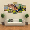 Snipe gets Food from Under the Mud, Snipe, Sandpipers, Bird hunting, Bird hunt is on, Water birds, long beak Multi Panel Canvas Wall Art