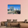 View on railroad and financial district in Vienna, Austria multi panel canvas wall art