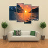 The Beautiful Colored Ocean Waves, Surfing Down With The Sun Inside, Multi Panel Canvas Wall Art