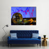 A golden bitcoin with keyboard and graph background multi panel canvas wall art