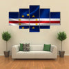 3D rendering of the flag of Cape Verde on satin texture Multi panel canvas wall art