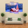 Blizzard Covered Alpine Fields Shepherds In The Ukrainian Carpathians with Mountain Peaks, Multi Panel Canvas Wall Art