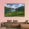 Looking over fields, farms and Lake Lucerne in Switzerland multi panel canvas wall art