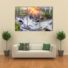 River at sunrise in the Carpathian forest Multi panel canvas wall art