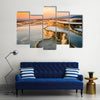 The Speaking Beauty Of Carbonate Tavertines In The Natural Pools Of Turkey In A Sea During Sunset Multi Panel Canvas Wall Art