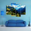 A beautiful summer landscape, in the Slovenia Mountain and valley multi panel canvas wall art