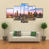Dubai skyline with beautiful city close to its busiest highway on traffic Multi panel canvas wall art
