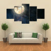 Full Moon And Old Tree On A Starry Night Multi Panel Canvas Wall Art Print Set