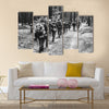 Unidentified Re-enactors Dressed As World War II German Soldiers Multi Panel Canvas Wall Art