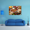Breakfast buffet full continental and english coffee orange juice salad croissant fruit Multi panel canvas wall art