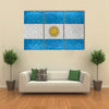 Argentina National Flag In Grunge Style Design Multi Panel Canvas Wall Art