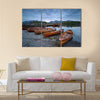 Boats on the shore of Derwentwater at Keswick in the Cumbria multi panel canvas wall art