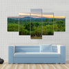 Lush jungle and dramatic sunset in Democratic Republic of Congo Multi panel canvas wall art