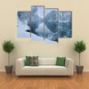 Winter Forest On The River At Sunset With The Colorful Landscape And Snowy Trees, Multi Panel Canvas Wall Art