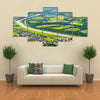 The Aerial Landscape View On The Vaduz City And Rhein River In The Liechtenstein, Multi Panel Canvas Wall Art