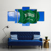 Saudi Arabian flag and Fabric texture Multi Panel Canvas Wall Art