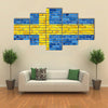 Flag Of Sweden On A Brick Wall Multi Panel Canvas Wall Art