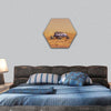 Human vehicle on Mars hexagonal canvas wall art