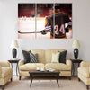 Hockey player with hockey Multi panel canvas wall art