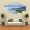 The Aerial Print Of Lake Ohrid Coastline, Macedonia, Multi Panel Canvas Wall Art