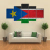 South Sudan flag on an old grunge background Multi Panel Canvas Wall Art