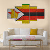 Zimbabwe flag on an old grunge background Multi panel canvas wall art