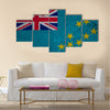 Tuvalu flag on an old grunge background Multi panel canvas wall art