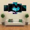 Hands in the shape of a heart, starry night background multi panel canvas wall art