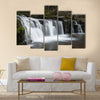 Beautiful waterfall landscape image in forest during Autumn Fall multi panel canvas wall art