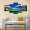 Natural infinity rock pool with tropical ocean lagoon Multi panel canvas wall art