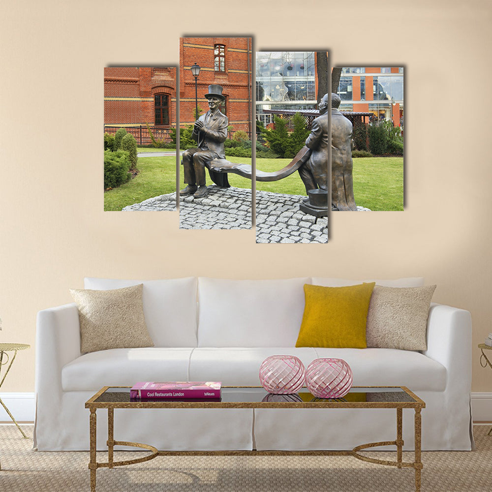 Monument to Makuszynski and Walentynowicz in Opole, Poland Multi Panel Canvas Wall Art