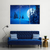 Full Moon Rising Above Winter Valley Covered In Snow Multi Panel Canvas Wall Art