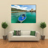 A Blue Boat Standing In The Port In Croatia, Europe, Multi Panel Canvas Wall Art