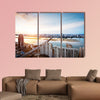 Shanghai interchange overpass and elevated road in nightfall multi panel canvas wall art