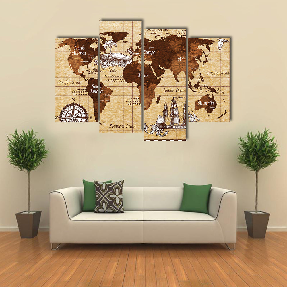Hand drawn sketch retro world map multi panel canvas wall art