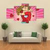 Love couple kiss, boy and girl in Valentine's Day, Multi Panel Canvas Wall Art