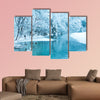 Frozen lake and trees in nature park Plitvice, Croatia Multi panel canvas wall art