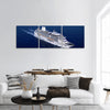 White cruise ship shot from air with calm seas Panoramic Canvas Wall Art