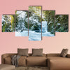 Forest waterfall in Baden-Baden in winter, Germany multi panel canvas wall art