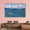Red and White Ferry toward Alcatraz Prison multi panel canvas wall art