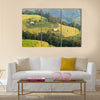 landscape in a rural area  of harvest under the yellow sunlight of autumn Multi panel canvas wall art