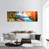 Style of watercolor painting Mountain lake bet Panoramic canvas Wall Art
