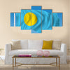 Flag of Palau - vector illustration multi panel canvas wall art