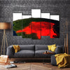 3D Imagery Of Democratic Republic Of Congo At Night From The Outer Space Multi Panel Canvas Wall Art