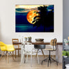 Full Blood Moon And Coconut Tree Multi Panel Canvas Wall Art