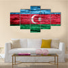 Azerbaijan flag on old background retro effect, close up Multi panel canvas wall art