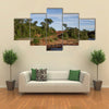 African river crossing the forest with ancient bridge Multi panel canvas wall art